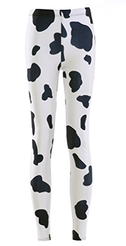 Jescakoo Funny Milk Cow Pattern Printed White Black Ankle Leggings for Women M