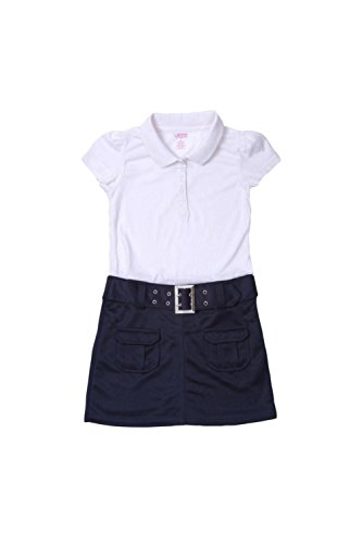 French Toast Belted Knit Polo Dress Girls Navy (Belted Knit Dress)