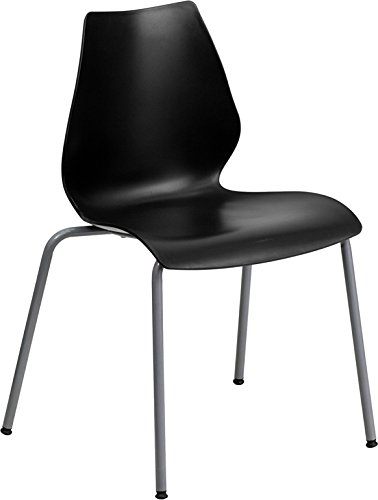 - DiscountRoomDecor Premium Quality Black Plastic Stack Chair RUT-288-BK-GG