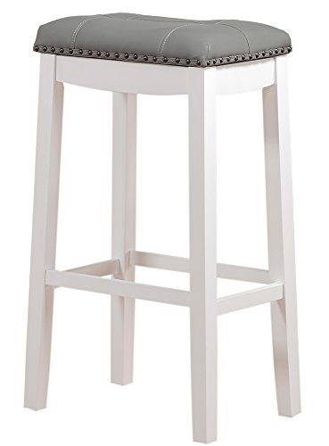 Angel Line Cambridge Padded Saddle Stool, White with Gray Cushion, 29