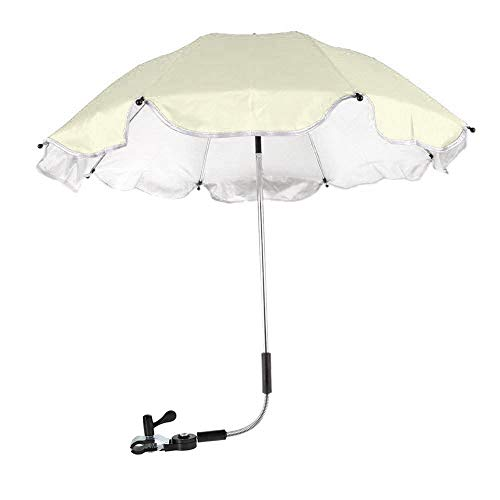 Wheelchair Umbrella, Baby Stroller Umbrella Pushchair Cover Parasol for Beach, UV Protection, Sun, Rain Outdoor Umbrella Beige
