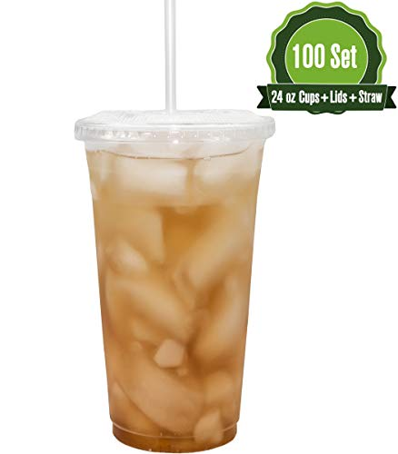 22oz Clear Plastic Cups with Flat Lids and Straws (100 Set) Clear Plastic Cups Lids Straw