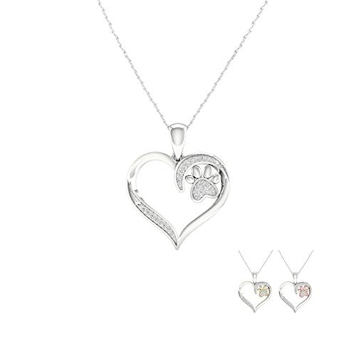 (1/14 ct TDW Diamond Sterling Silver Heart with 10k White Gold Paw Pendant Necklace (I-J,I2))