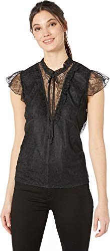 BCBGeneration Women's Ruffle Sleeve LACE Knit TOP, Black, S from BCBGeneration