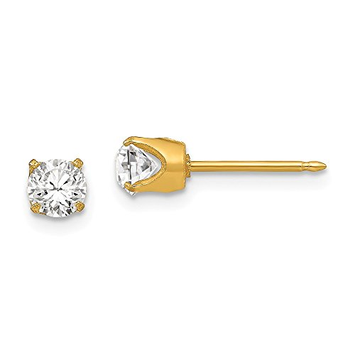 Plated Gold 24k Austrian Crystal (Mia Diamonds Inverness 24k Gold-Plated Plated 5mm Austrian Crystal Earrings)