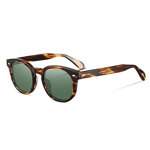 EyeGlow Vintage Round Sunglasses Women Sunglasses Men Polarized Lens 5187 Acetate material (Blonde vs green polarized lens, As ()