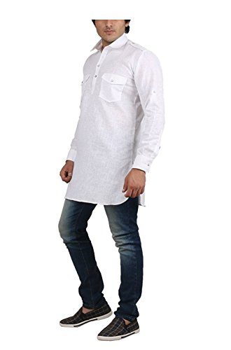 Royal Kurta Men's Fine Cotton Short Pathani Kurta For Denims 38 White by Royal Kurta (Image #1)
