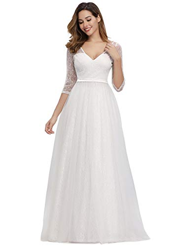 Women's A-Line Lace Wedding Dress Military Ball Gowns Bridesmaid Dress White US16