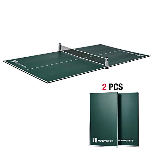 MD Sports No Assembly Required Table Tennis Conversion Top, Regulation Size - Folding, Portable Tennis Top with Net - Fits Most Standard Air Hockey and Pool Game Tables - Green & White