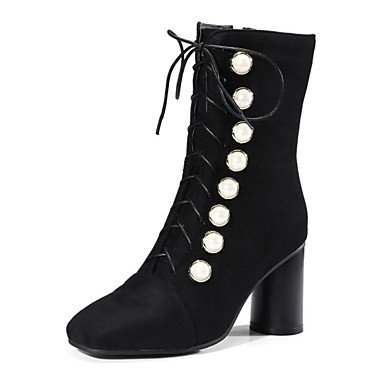 RTRY Women's Shoes Fleece Winter Novelty Fashion Boots Boots Chunky Heel Pointed Toe Mid-Calf Boots Imitation Pearl For Casual Party & Evening US4-4.5 / EU34 / UK2-2.5 / CN33