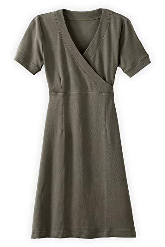 Fair Indigo Fair Trade Organic Faux Wrap Dress (XL, Fatigue) ()