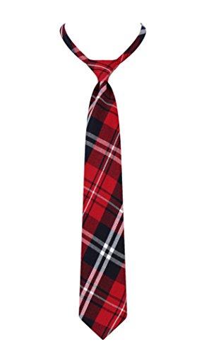 Beautifulfashionlife Unisex Pre-Tied Adjustable Tartan Bow tie or Necktie (Necktie, Blue red) (Uniform Red Bow)
