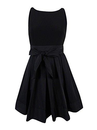 (Lauren Ralph Lauren Womens Taffeta Sleeveless Wrap Dress Black)