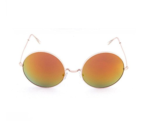 Mujeres Gafas De goldframeyellowreflective Sol De De Hombres Caja Gafas Gafas Polarizadas Metal Y Retro UV Sol Anti Sol Redonda Goldframehyunorangereflective GSHGA Grande Caja dPTqBxEdw