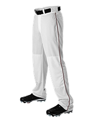 Alleson Adult Baseball Pant with Braid White, Maroon M 605WLB 605WLB-WHMA-M