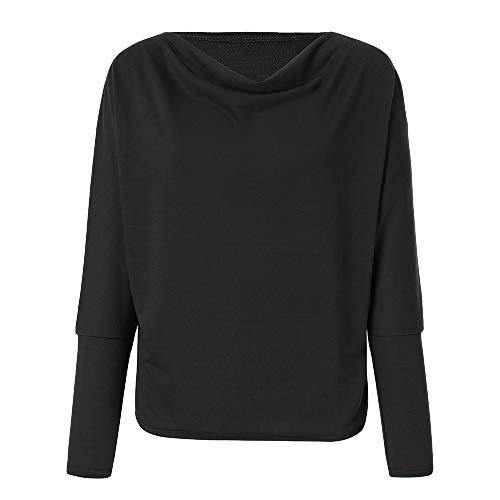 Noir Collier Sweat Shirt kingwo Manches dcontract Haut Longues Vrac T Shirt en Femme Un Mot AqvZH6B