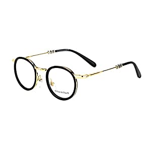 Eileen&Elisa Round Vinatge Glasses Frame with Clear Lens Retro Reading Eyeglasses Frame Case (Gold, 47)