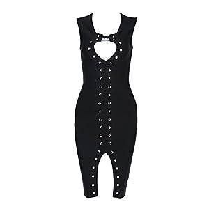 whoinshop Women's Sleeveless Peek-A-Boob Lace Up Clubwear Front Split Party Bandage Dress