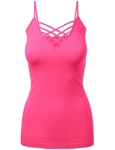 Lattice Front Seamless Cami with Adjustable Bra Strap Tops HOTPINK SM