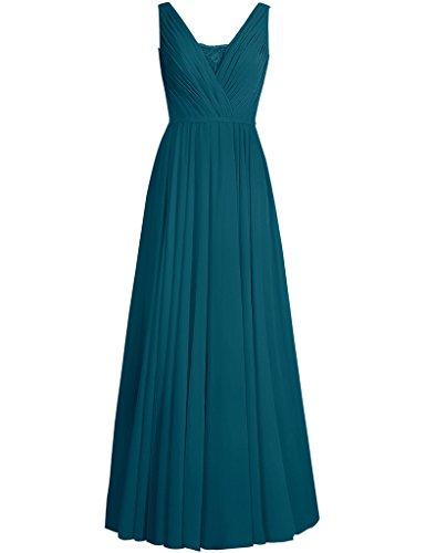Wedding Formal Neck Prom Womens Chiffon Bridesmaid Long V Cdress Lace Guest Dresses blue Ink fPHaq8
