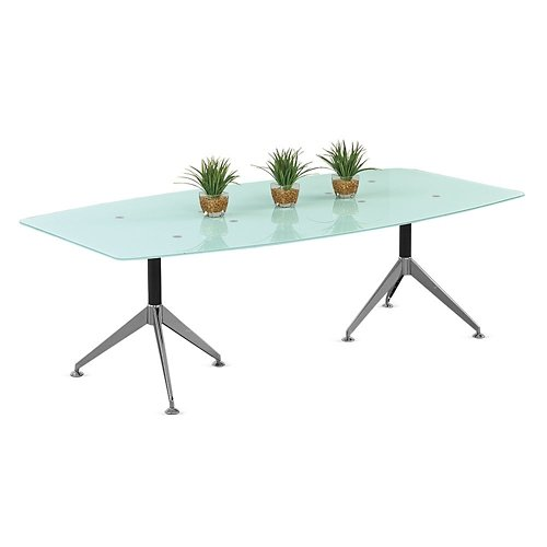8'W Glass Top Boat-Shaped Conference Table - NBF Signature Series View Collection