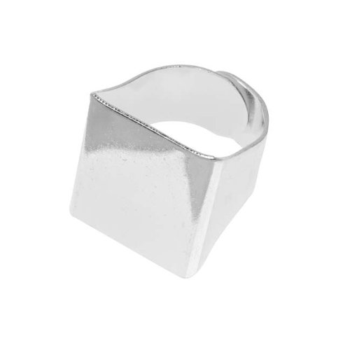 Beadaholique Silver Tone Brass Square Glue-On Collage Adjustable Ring 20mm (1) ()
