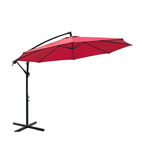 I-Choice 10 ft Offset Hanging Patio Umbrella Outdoor Garden Cantilever Offset Umbrella 8 Ribs W Crank Lift Adjustment and Cross Base, Red