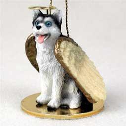 (Siberian Husky Black & White w/Blue Eyes Pet Angel Ornament)