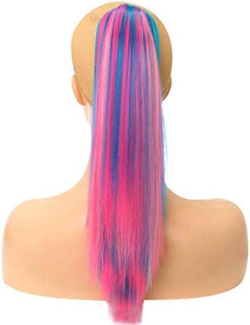 ポニーテール拡張ロングストレート18インチの新しい髪スタイリッシュなファッションナチュラルレディース合成女性のためのヘアピースのStringウィッグクリップを描きます,ピンク