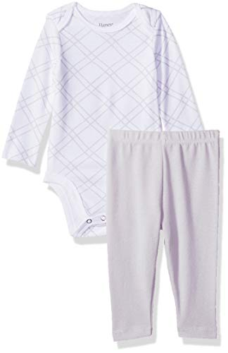 Hanes Ultimate Baby Flexy 2 Piece Set (Pant with Long Sleeve Bodysuit), Grey Print, 12-18M