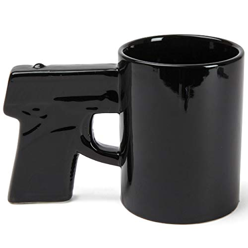 BigMouth Inc. Gun Mug, Black Coffee Mug, Ceramic, Holds 14 Oz., Perfect for Coffee, Tea -