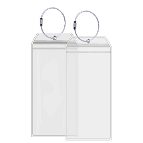 Ahobson Cruise Tags Holders for Luggage E-Tags Waterproof With Resealable Zipper & Steel Loops (2Packs)