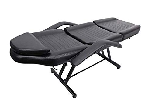 Facial Table Bed Chair Black Leather Cover A Shape Structure for Beauty Salon Facial Massage Waxing