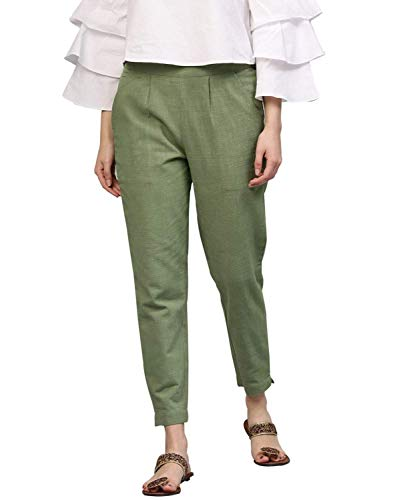 AOSIKATE Women's/Girls Cotton Flex Casual Solid Trouser Pants