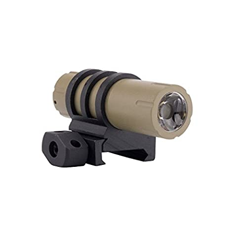 100 Lumens Ultra-Compact Flashlight with Rail Mount and Detachable Remote Pressure Switch (Flat Dark - Ar 15 Tactical Flashlights
