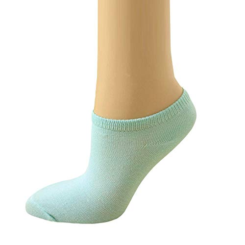 (5 Pairs Womens Girls Cute Solid Candy Color Funny Microfiber Low-Cut Ankle Socks (Mint Green) )