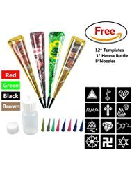 Black Henna Paste - DevilFace Temporary India Tattoo Kit, 4 Color Paste Cone Body Art Painting Drawing with 12 x adhesive Stencil, 1 x Applicator Bottle and 8 x Plastic Nozzle (4 Color Mehdi)