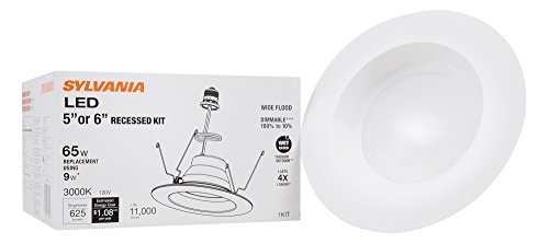 SYLVANIA 74405 LED Bulb 65W Equivalent Warm White 3000K Contractor Series RT 5/6 Recessed Downlight Kit ()