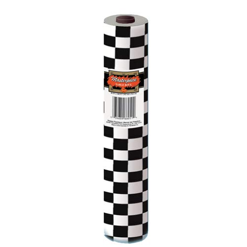 (Checkered Table Roll (black & white) Party Accessory  (1 count) (1/Pkg))