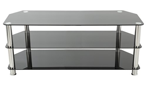 - AVF SDC1250-A TV Stand for Up to 60-Inch TVs, Black Glass, Chrome Legs