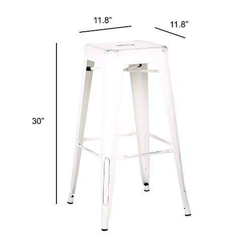 AC Pacific Modern Backless Light Weight Industrial Metal Barstool 4 Leg Design, 30 Seat Bar Stools Set of 2 , Distressed White Finish