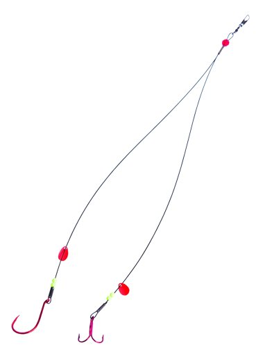Lakco TU10ST Double Pike Tip-Up Leader One 3/0 Single and 1 1/0 Treble Hooks (Best Tip Up Bait For Pike)