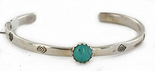 - $80Tag Certified Silver Navajo Natural Turquoise XSmall Native Bracelet 12853-4 Made by Loma Siiva