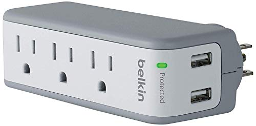 Belkin 3-Outlet USB Surge Protector w/Rotating Plug- Ideal for Mobile Devices, Personal Electronics, Small Appliances and More (1 Amp, 918 Joules)