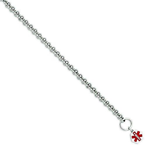 Argent 925/1000 à finition émaillée Med ID Bracelet de pouce pouce 8,75-Bascule-JewelryWeb