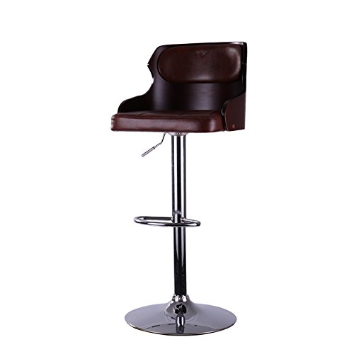 QVB Bar Stool Walnut Bentwood Adjustable Height Leather Bar Stools with Black Vinyl Seat Extremely Comfy with Seat Back Pad (Dard brown) 4 Bentwood Stools