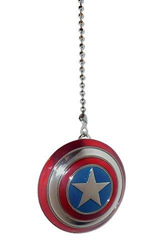 DC & Marvel comics SUPER HERO superhero character PEWTER Ceiling FAN PULL light chain (Pewter CAPTAIN AMERICA shield)