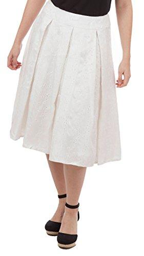 Kay Unger New York Pleated Eyelet Skirt, White, US 4