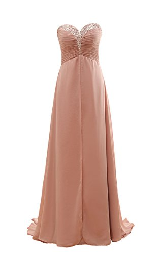 Beaded Ruched Bodice (YORFORMALS Women's Sweetheart Beaded Chiffon Bridesmaid Dress Long Formal Evening Gown Ruched Bodice Size 14 Dusty Rose)