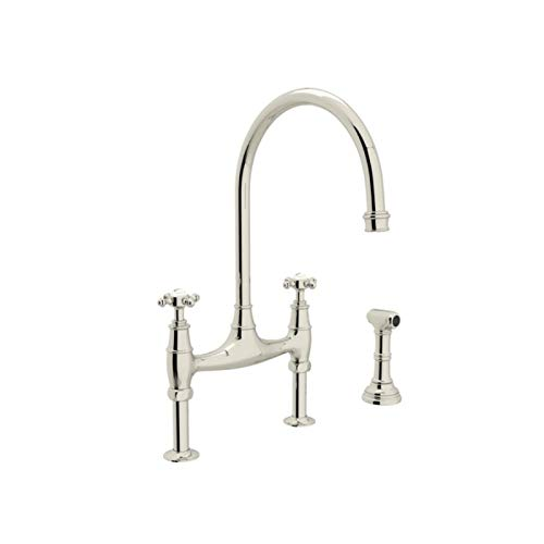 Rohl U.4718X-PN-2 Perrin and Rowe Deck Mount Bridge Kitchen Faucet with Sidespray with High C Spout and Cross Handles, Polished Nickel